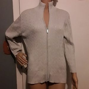 Chaps gray with metallic silver full zip sweater